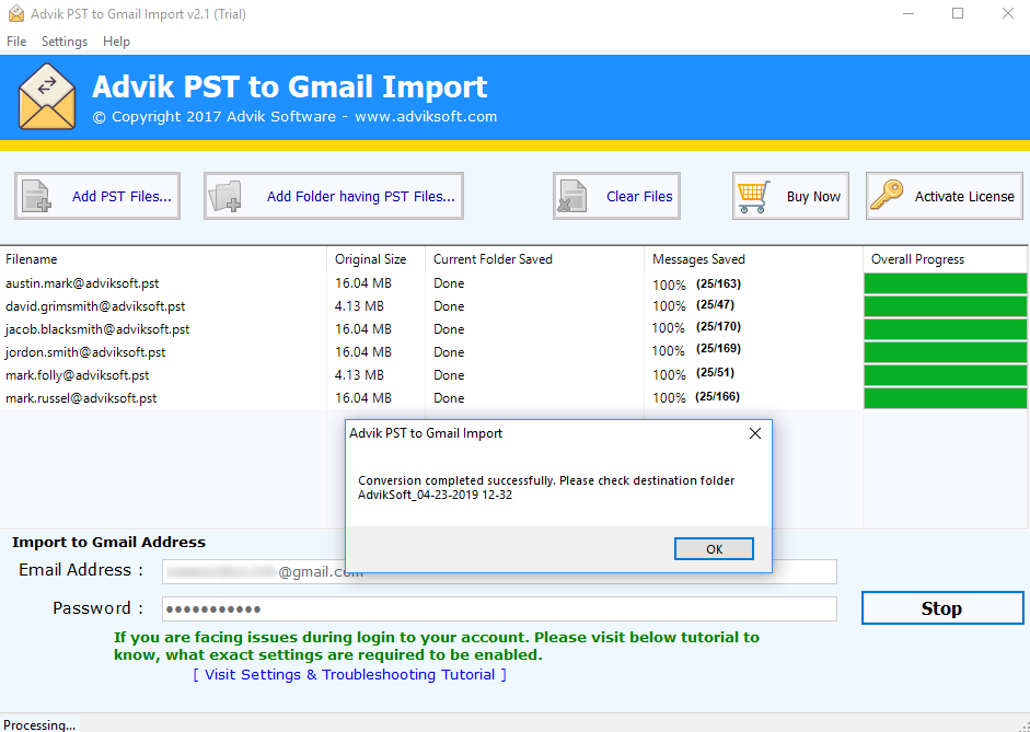 importar pst to gmail
